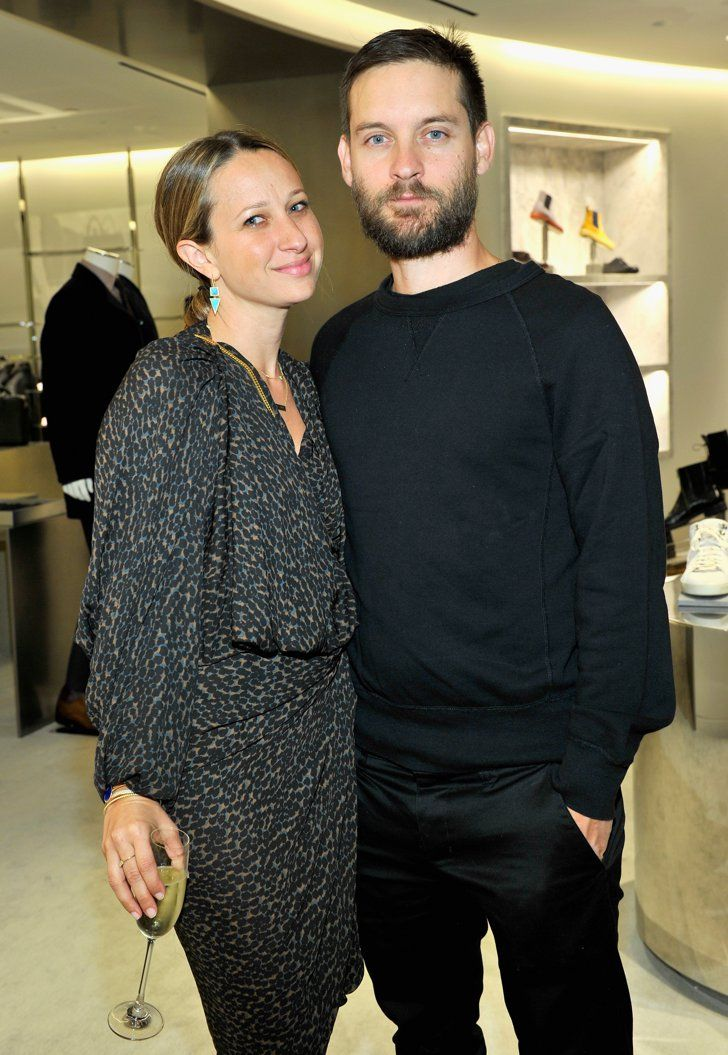 Pin for Later: Can't-Miss Celebrity Pics!  Tobey Maguire and Jennifer Meyer stepped out for the opening of the renovated Barneys New York store in LA on Wednesday.