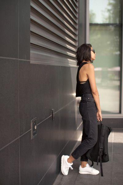 black mom Topshop jeans - white leather Reebok shoes - black backpack Ynot  bag f8ee42b70