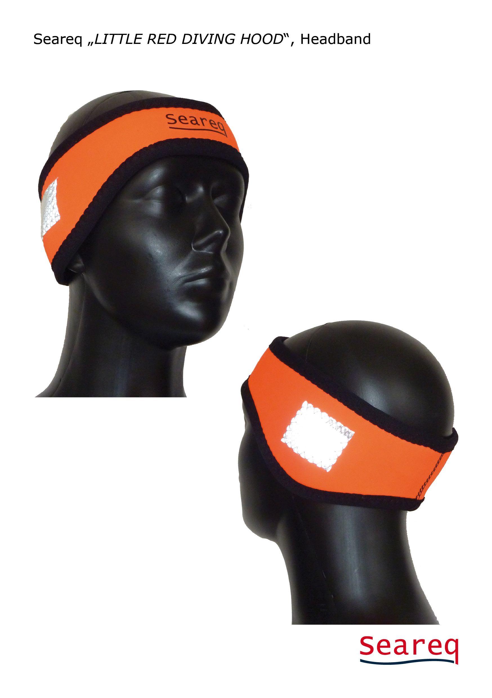 Praktisch zum Tauchen, Schnorcheln, Wind- und Kitesurfen oder als Windschutz an Bord: Das Seareq-Stirnband in kultigem Orange mit 2 SOLAS-Reflektoren.