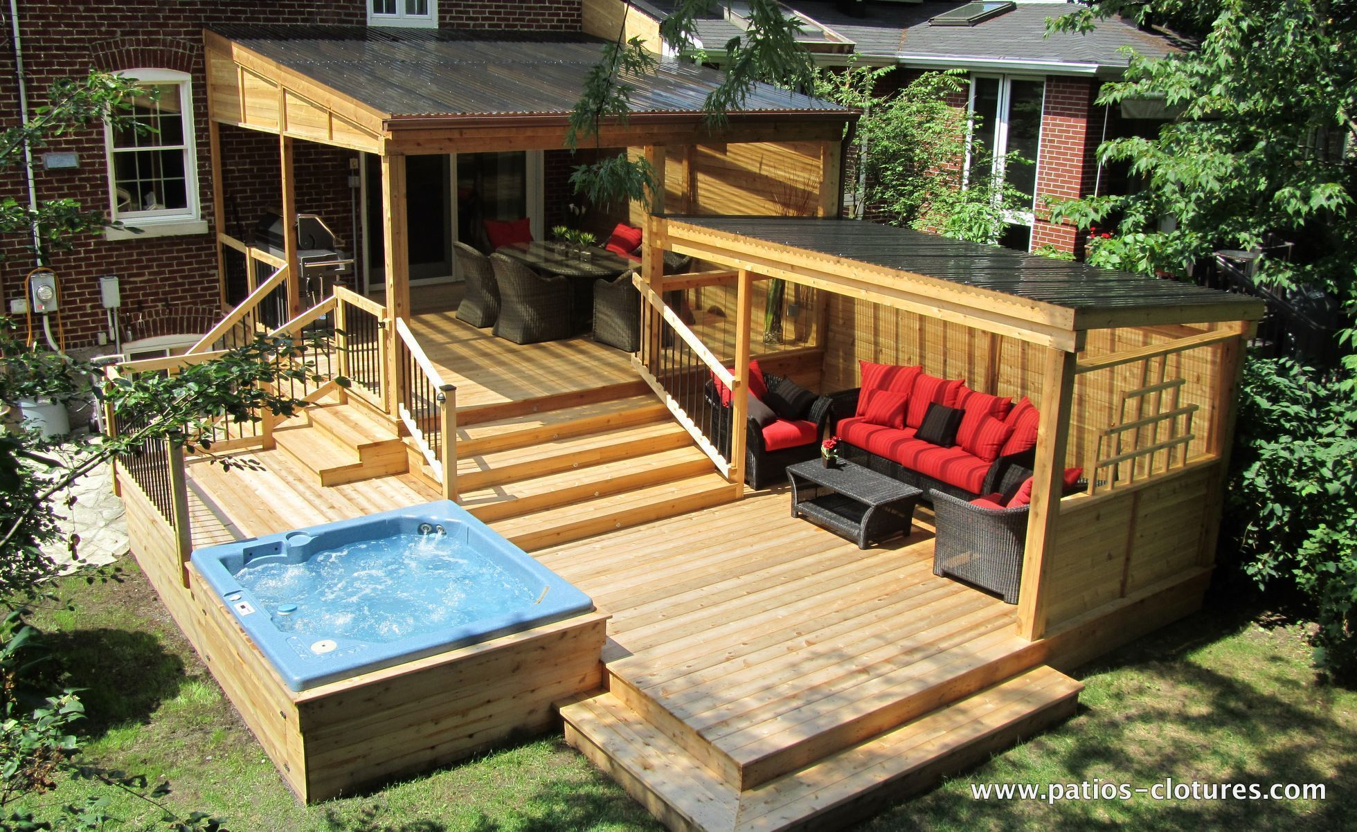 Multi Level Deck Including A Pergola With Polycarbonate Cover A Large Dinning Area A Lounge And An Integrated Hot Tub Decks Backyard Patio Patio Design
