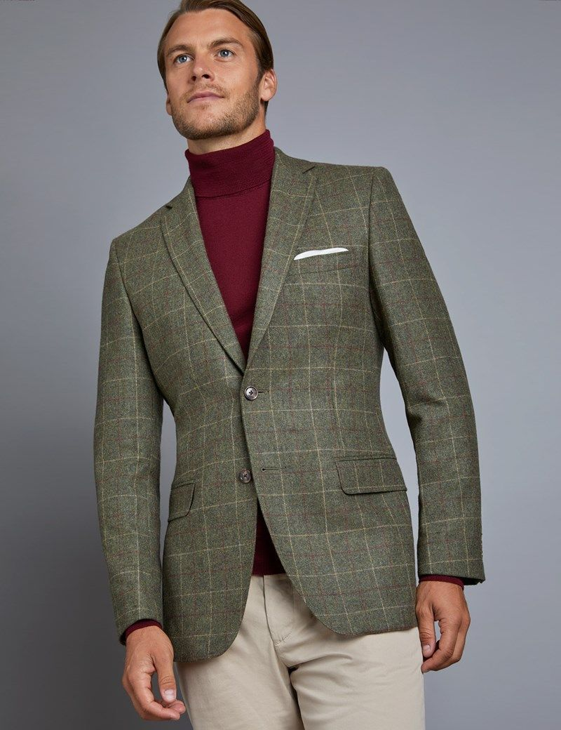 Men S Green Red Check Tweed Blazer 100 Wool Business Casual Blazer Mens Outfits Mens Fashion Suits Casual