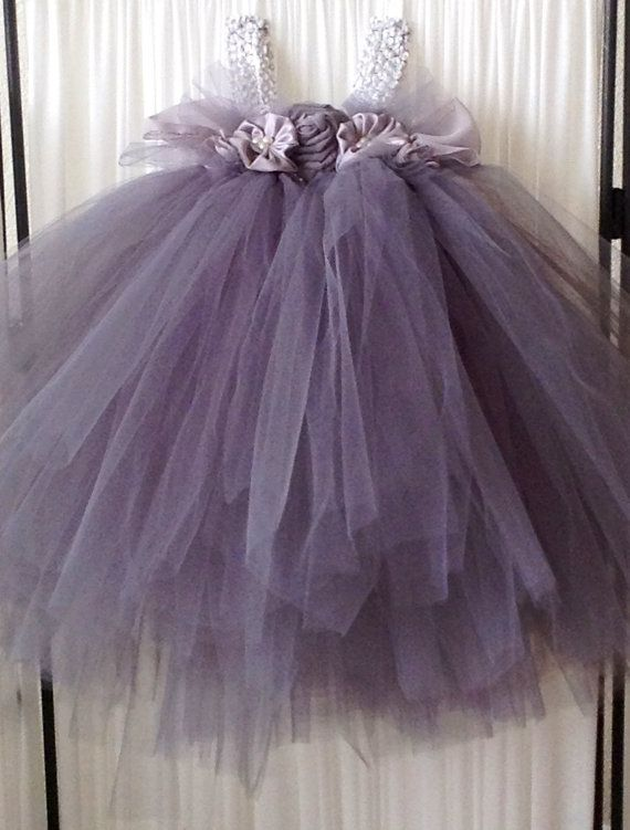 Gray Tulle Flower Dress Size 24months By Laceyperledesigns 65 00
