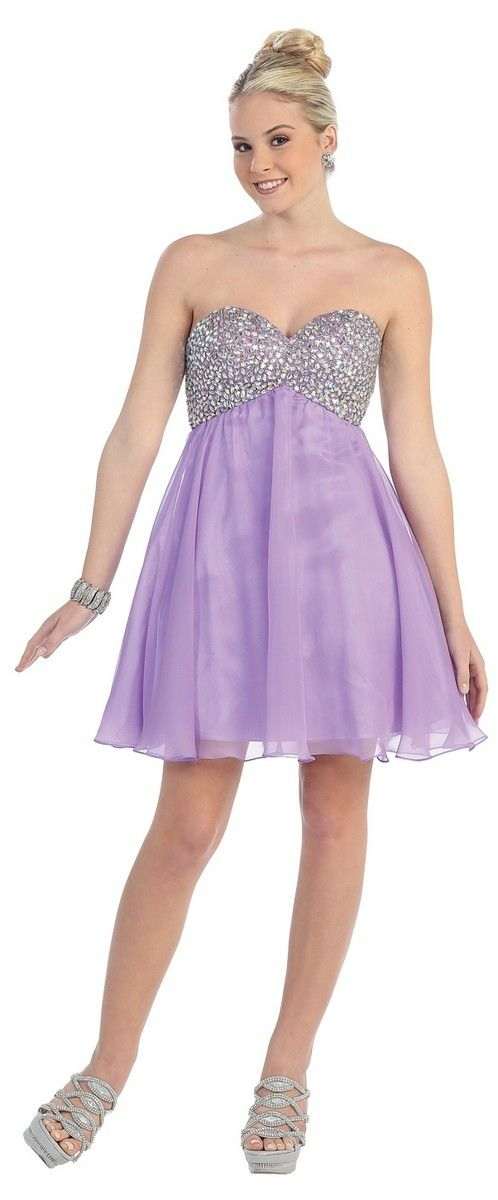 Short Homecoming dress in Purple, Black - Strapless style in Sequin ...