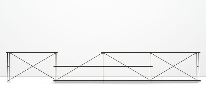 """MA/U Studio · R.I.G.  """"The R.I.G. table and shelving system is designed from the idea of joining simple principles: optimized use of materials, enhanced functionality and a minimalistic expression."""""""