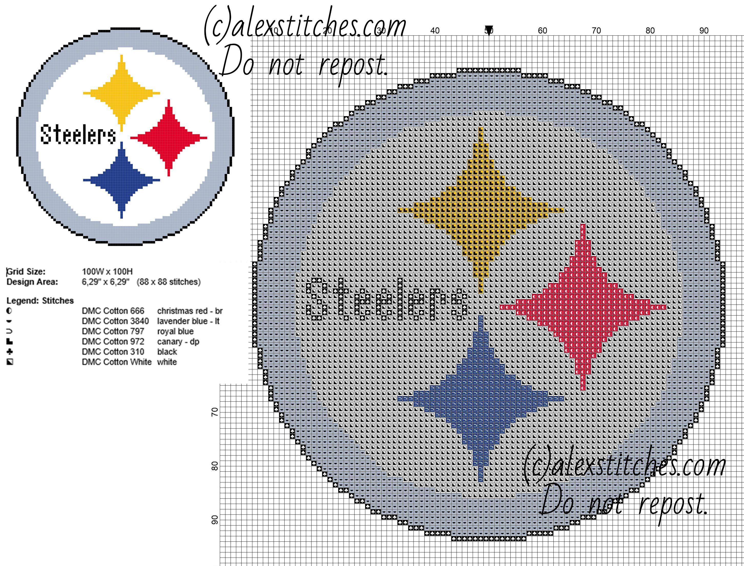 Pittsburg Steelers Logo Nfl National Football League Team Free Cross Stitch Pattern Free Cross Stitch Stitch Patterns Counted Cross Stitch Patterns