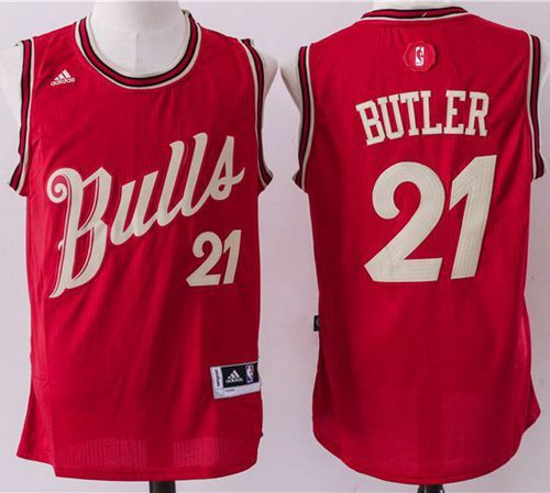 Bulls #21 Jimmy Butler Red 2015 2016 Christmas Day Stitched