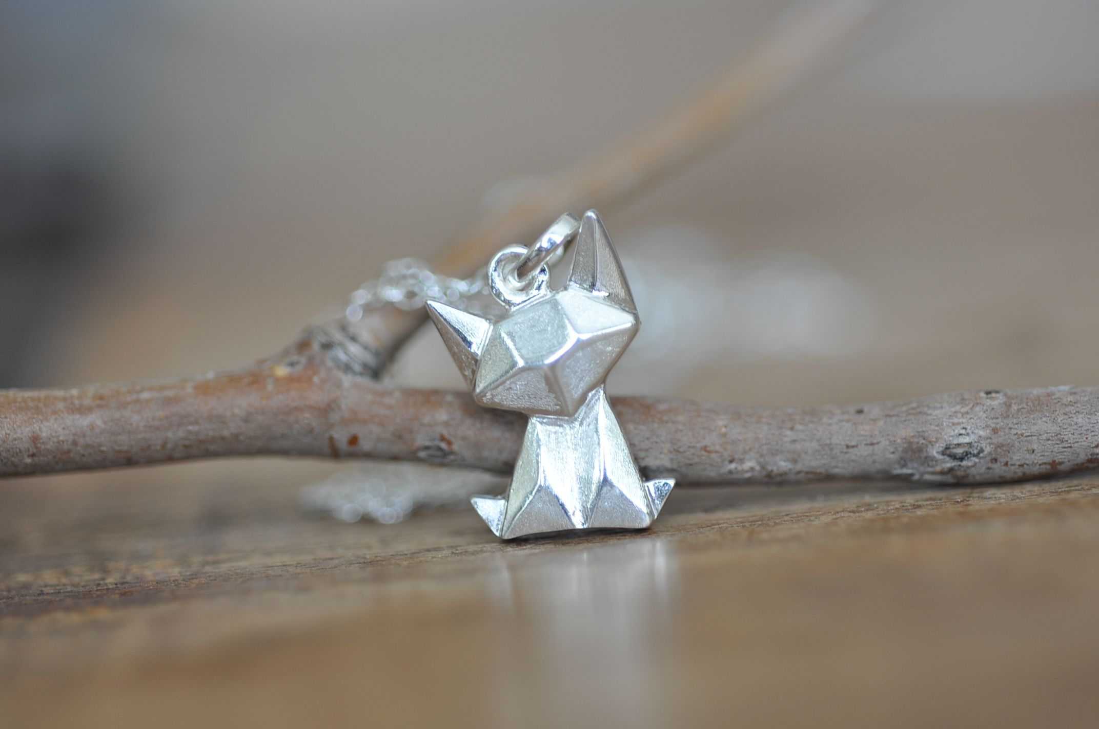Origami Jewellery Sterling Silver Cat Origami Necklace HUf9NM3TvN
