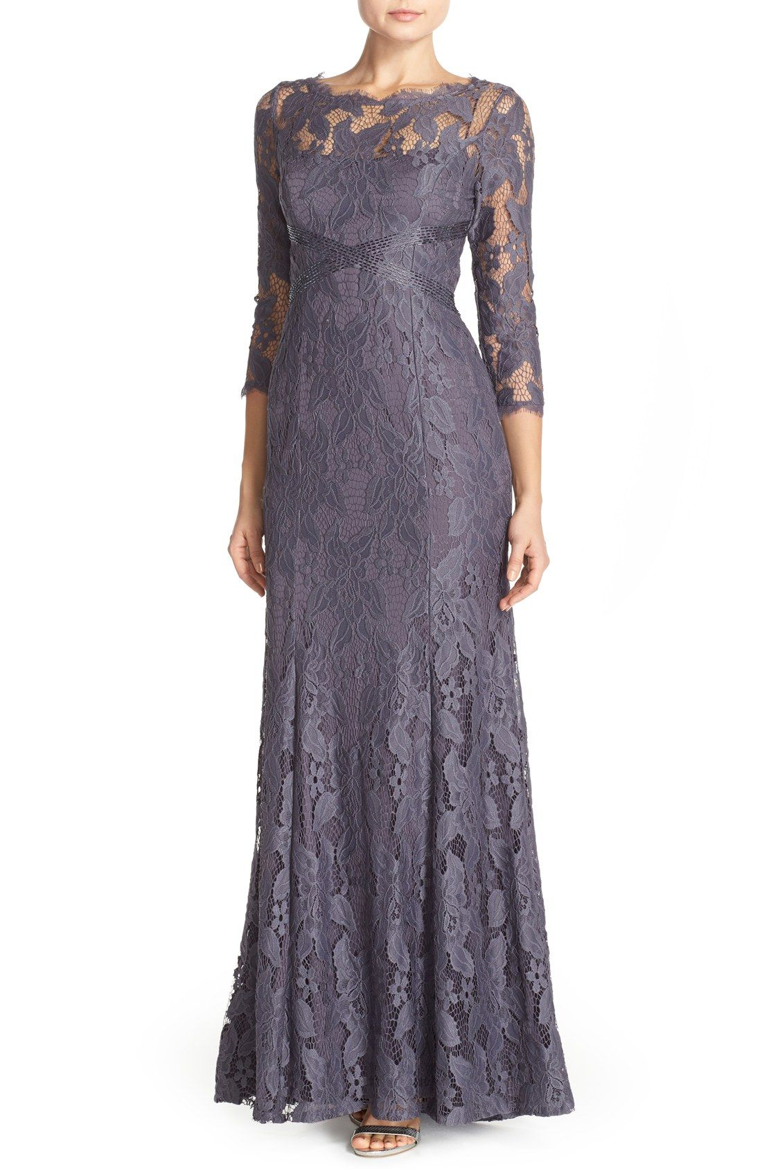 Free Shipping And Returns On Adrianna Papell Illusion Yoke Lace Gown
