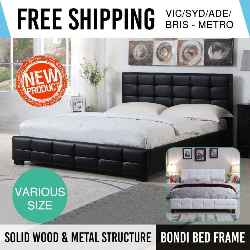 Bed Frame Padded Head Double Queen King Black White PU Leather Bondi ...