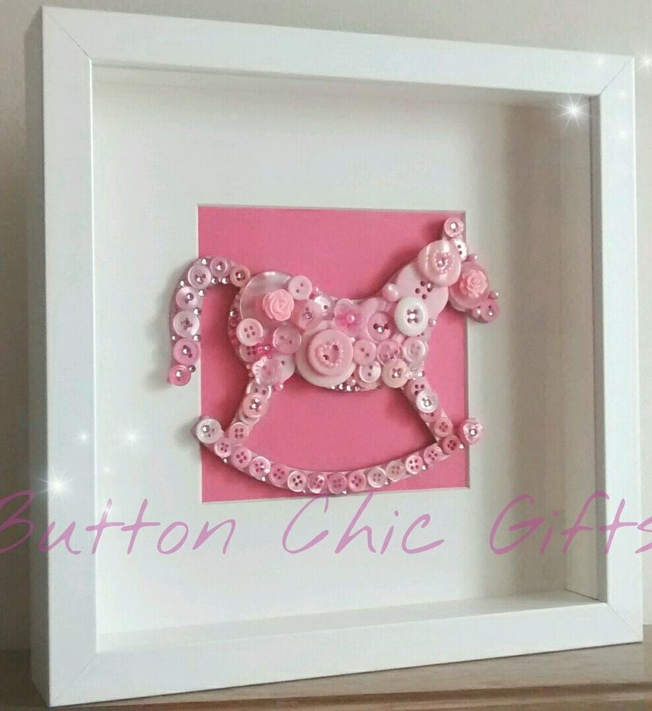 Embellished pink rocking horse button art picture in white for Room decor embellishment art 3d