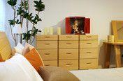 """小型仏壇勾玉はお部屋のインテリアにもなるすぐれたデザインです。""""MAGATAMA"""" Wooden Jewelry box in Japanese cypress and Hida-shunkei Finish."""