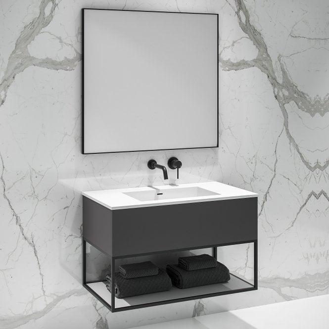 Lusso Modus Matte Anthracite And Black Steel Framed Bathroom Vanity Unit 900 In 2020 Bathroom Vanity Units Vanity Units Bathroom Sink Units