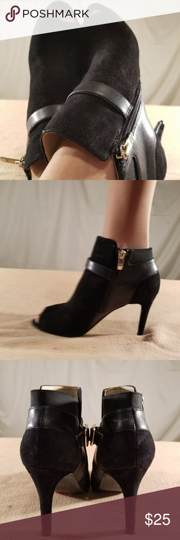 New Mark Fisher Black Suede/Leather Bootie Heels These shoes are Brand New/Never Worn and are in PERFECT CONDITION. The heel height of this shoe is 3.5 inches tall. Marc Fisher Shoes Ankle Boots & Booties
