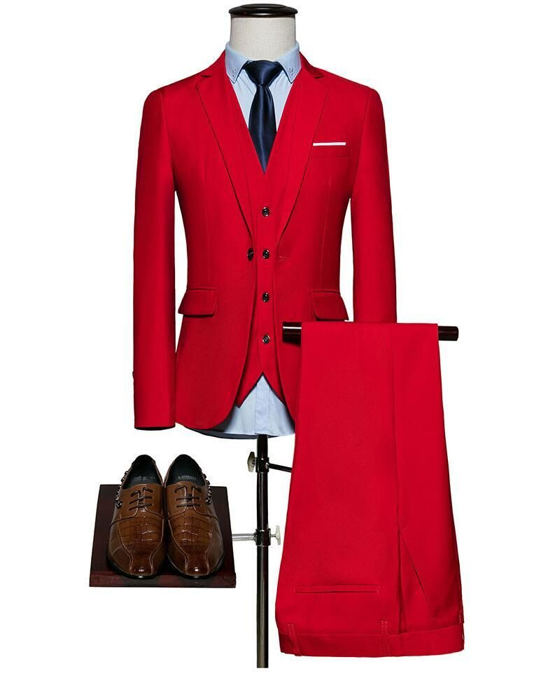 2018 Latest Coat Pant Designs Red Notched Lapel Formal Custom Groom