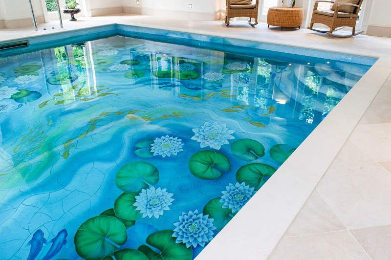 Indoor Swimming Pool Gets New Life With Water Lily Ceramic Murals Indoor Swimming Pools Mosaic Pool Swimming Pool Tiles