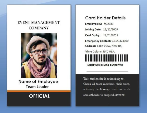 Double Side Employee Card Employees Card Printing Business Cards Id Card Template