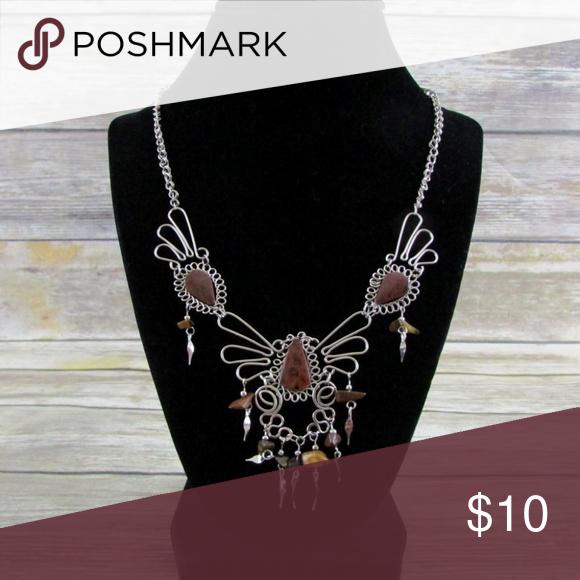 Brown Natural Gemstone Silver Bib Necklace Boutique