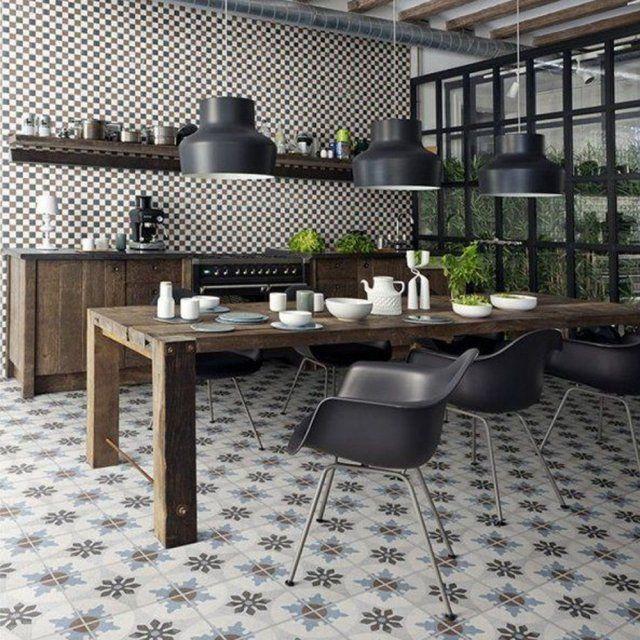 Résultat De Recherche Dimages Pour Cuisine Tendance Carrelage - Sol cuisine carreaux ciment pour idees de deco de cuisine