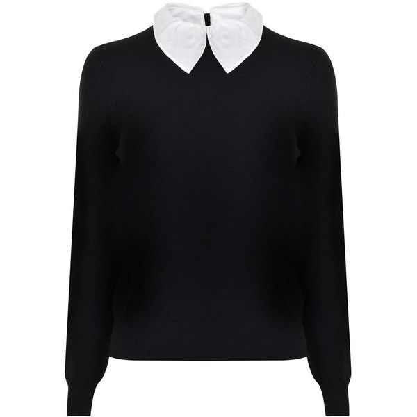 Carven Detachable Collar Knitted Jumper Found On Polyvore Top