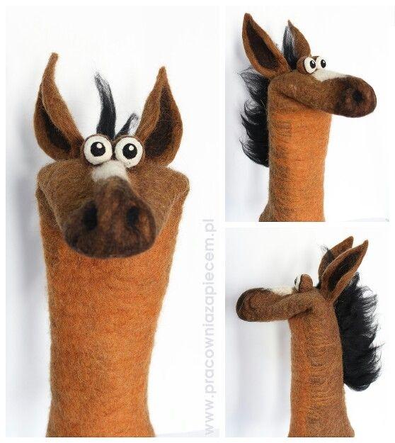 Filcowa pacynka koń- filz handpuppets horse by www.pracowniazapiecem.pl