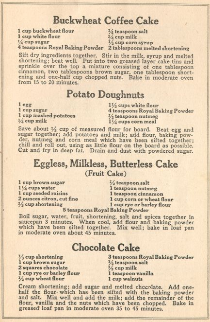 Cake recipes from ww1