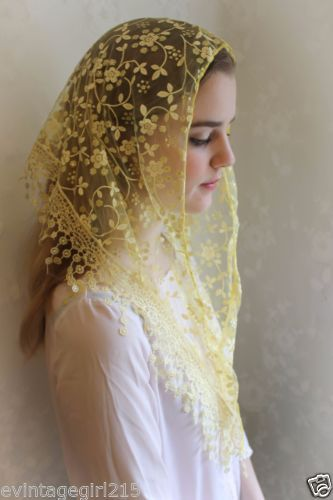 NEW Classic Mantilla Pink Blush Embroidered Chapel Veil Triangle Free Ship