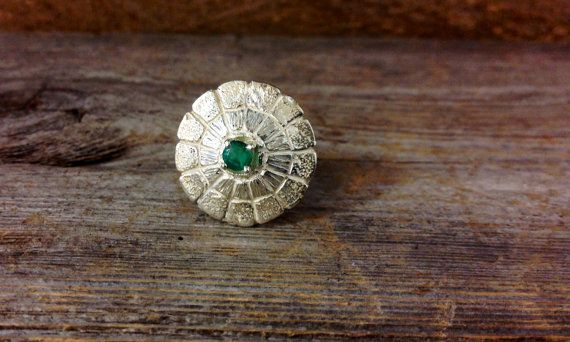 Handmade Sterling Silver Turtle Back Emerald ring made by Renaissance Jewelers