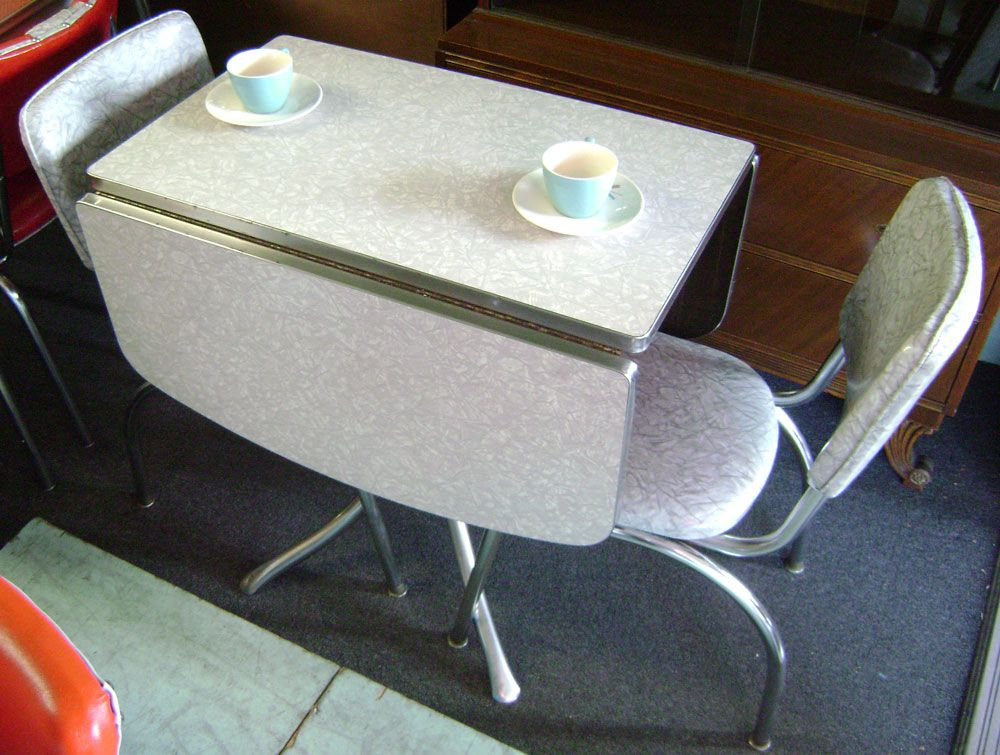 Retro Drop Leaf Kitchen Tables And Chairs Gray Formica