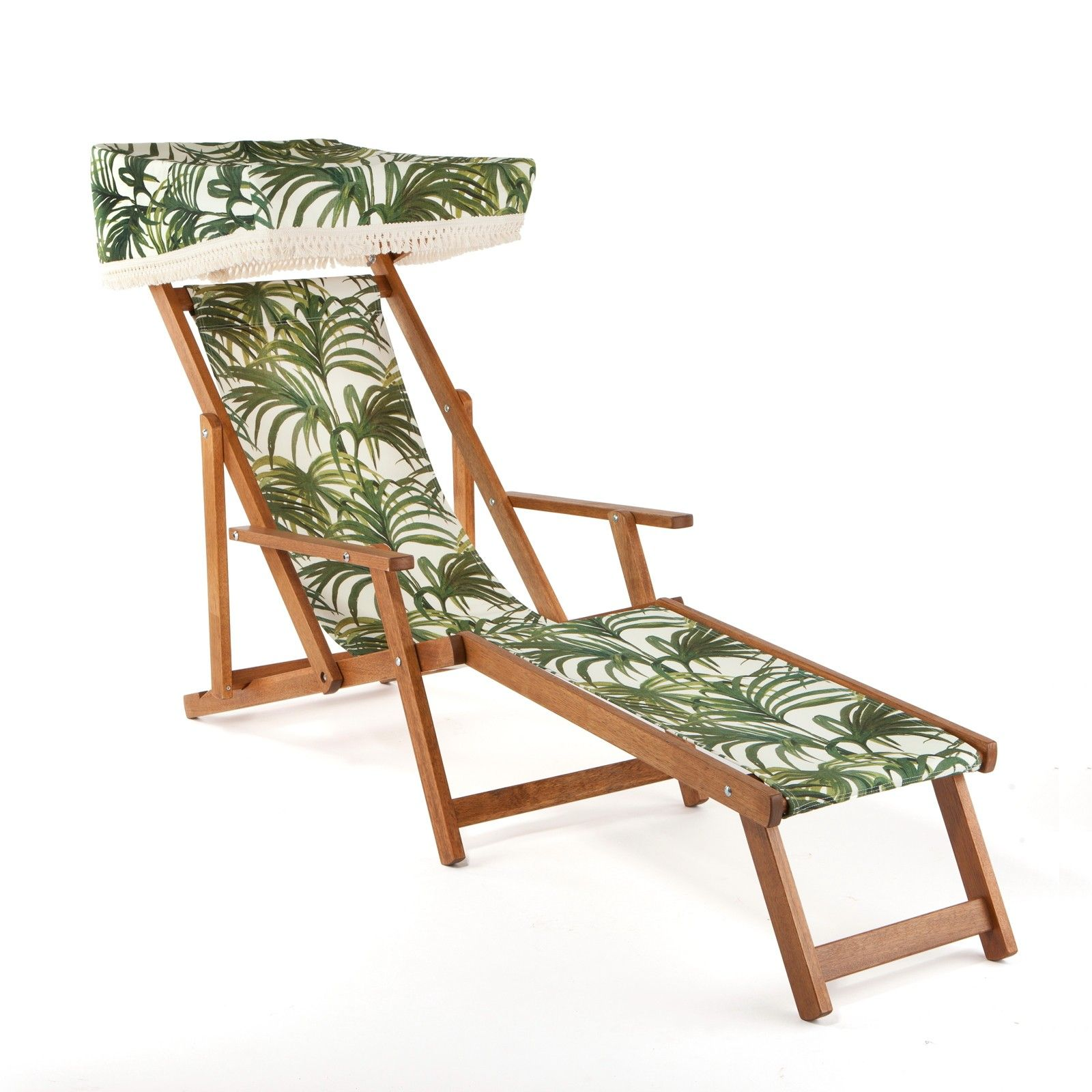 Palmeral Edwardian Deck Chair With Footstool  White Green