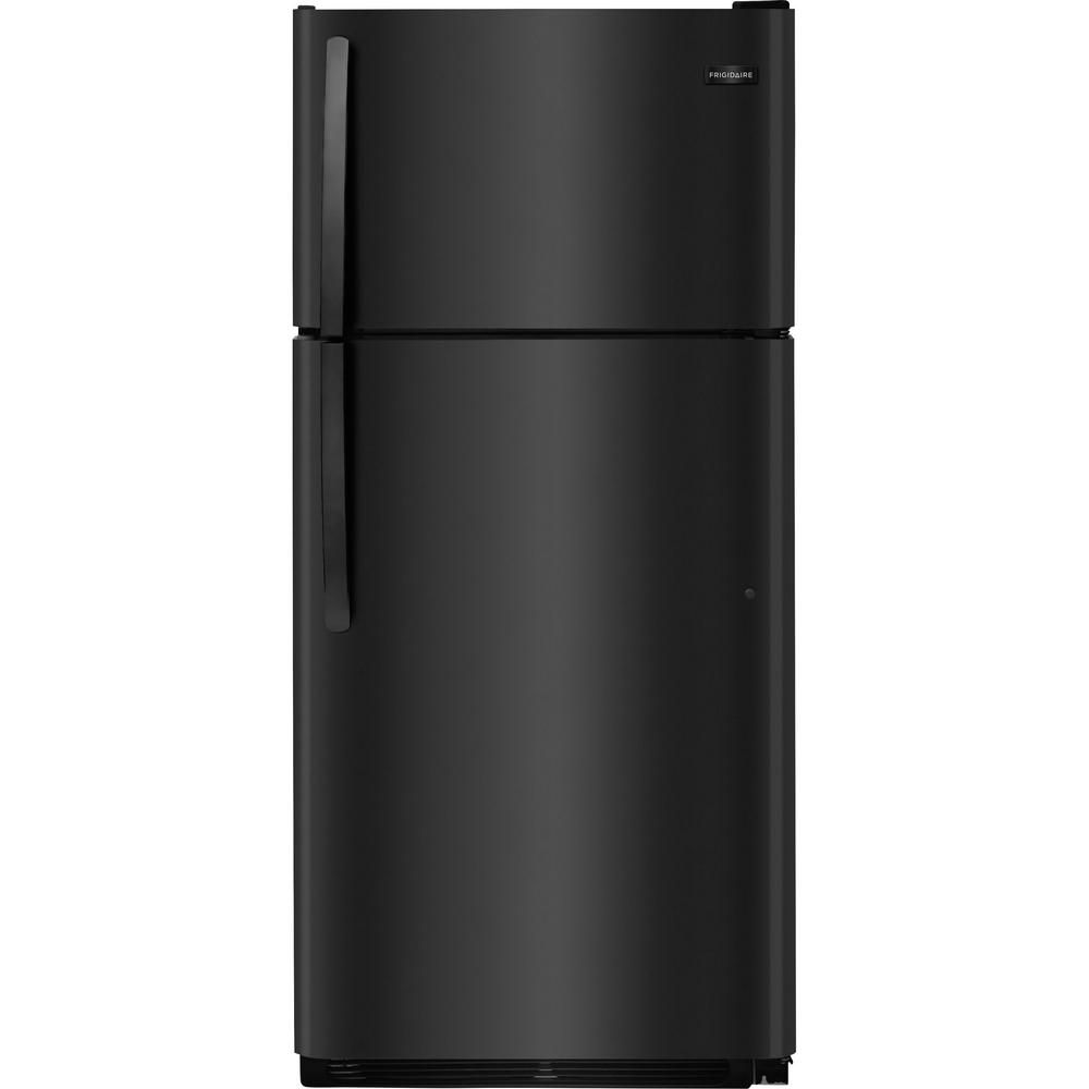 Frigidaire 18 Cu Ft Top Freezer Refrigerator In Black Fftr1814tb The Home Depot Top Freezer Refrigerator Refrigerator Frigidaire