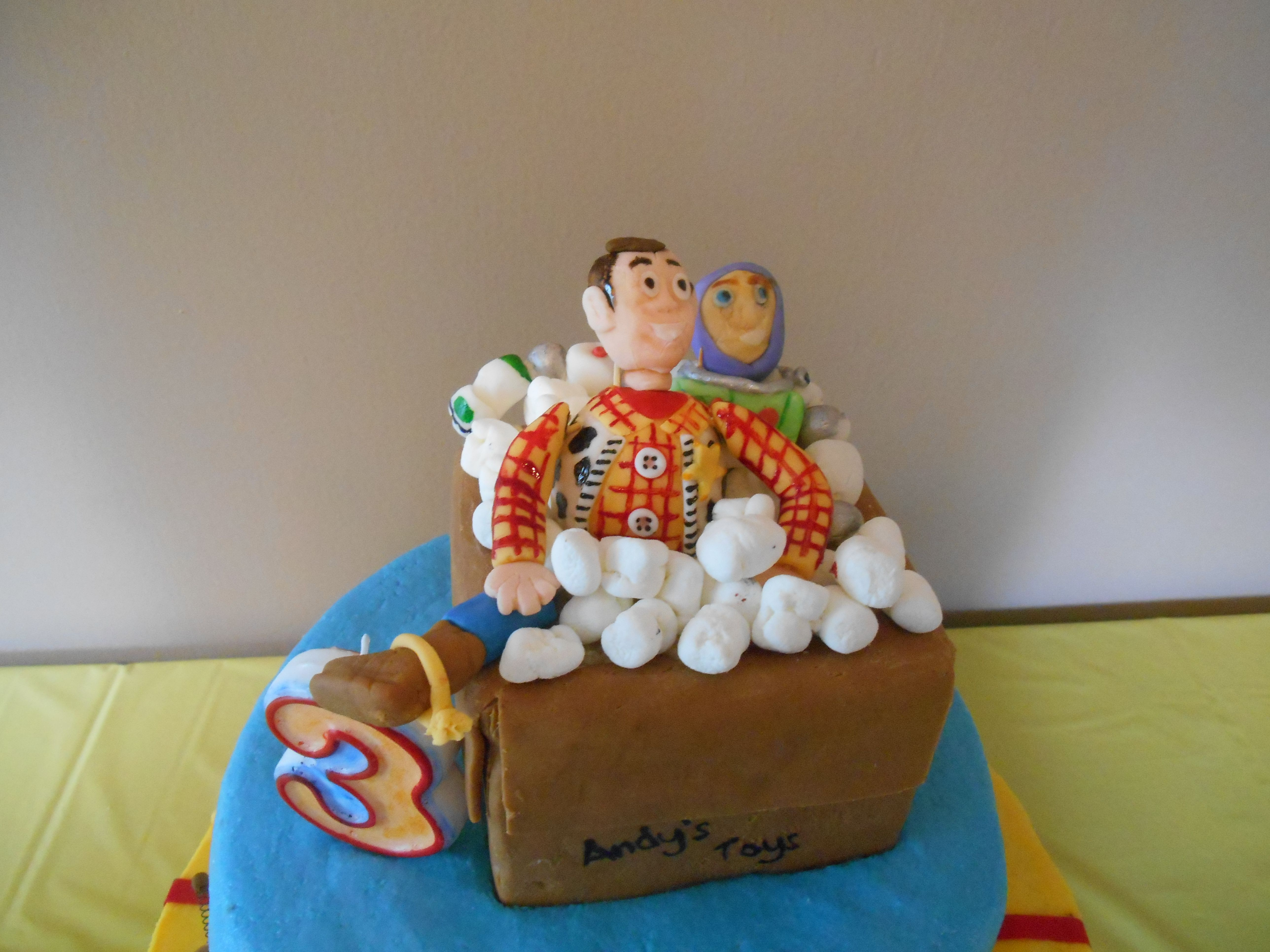 Buzz and Woody on Grant's Toy Story cake. Toy story