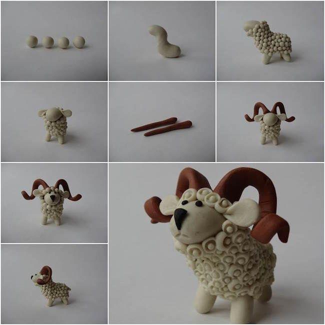 cómo hacer una oveja para el belén con pasta de modelar #diy