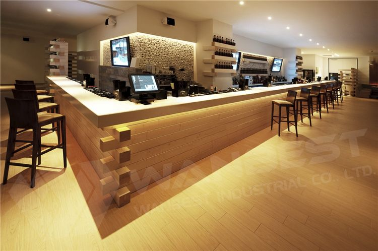 wooden wood bar counter design L shape led strip lighted granite top ...