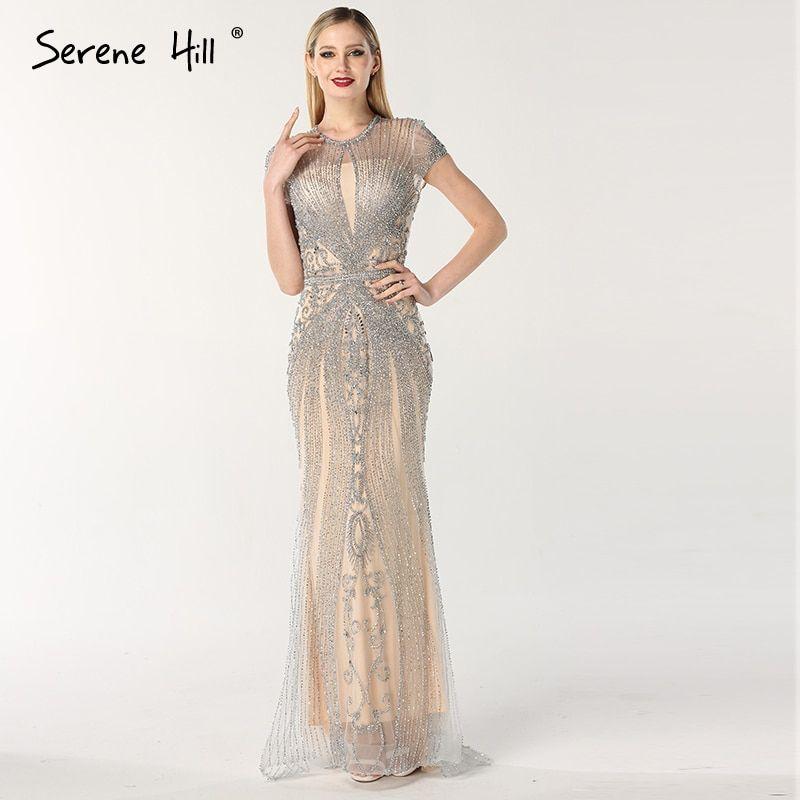 9cb5cda962aa 2019 Luxury Sleeveless full diamond o neck Sexy Evening Dresses Dubai  Design Beading Evening Gowns Serene Hill LA60742(China)