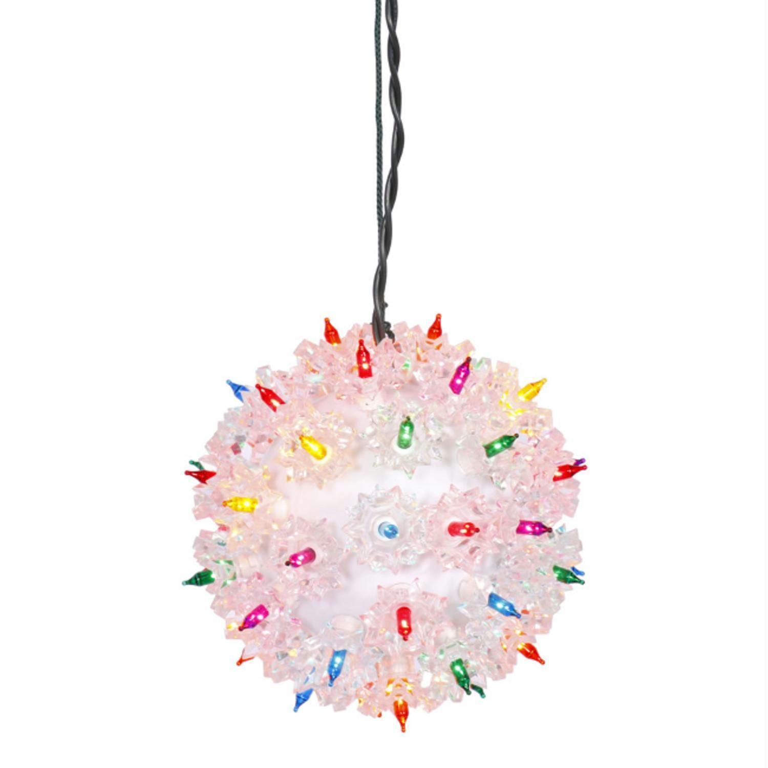 6 Multi Color Pre Lit Starlight Hanging Sphere Christmas Ball Decoration