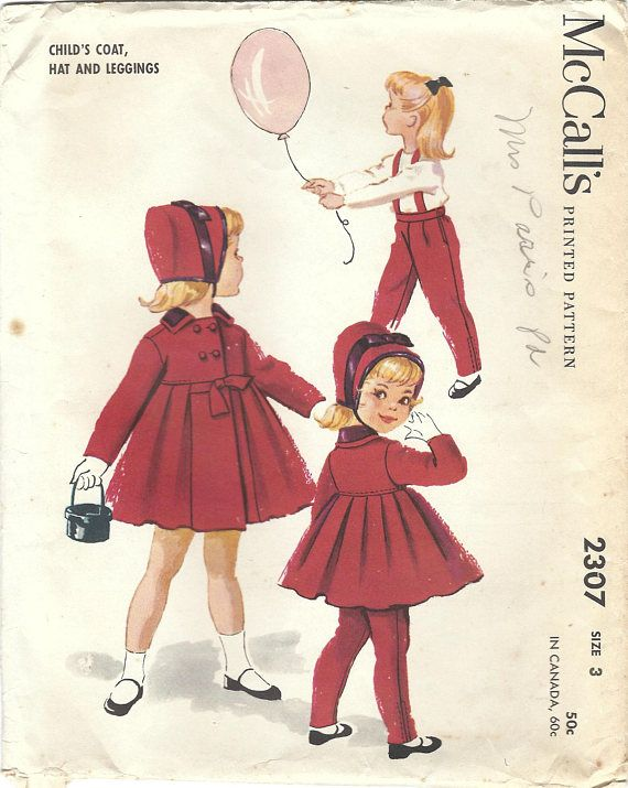1950s McCall\'s 2307 Vintage Sewing Pattern Girls Leggings, Tailored ...