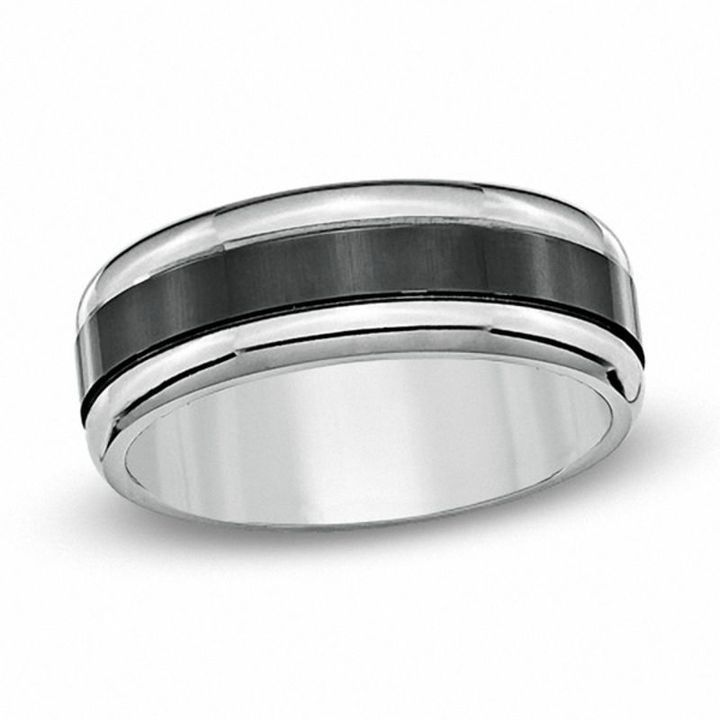 Zales Mens 8.0mm Black Groove Inlay Titanium Wedding Band