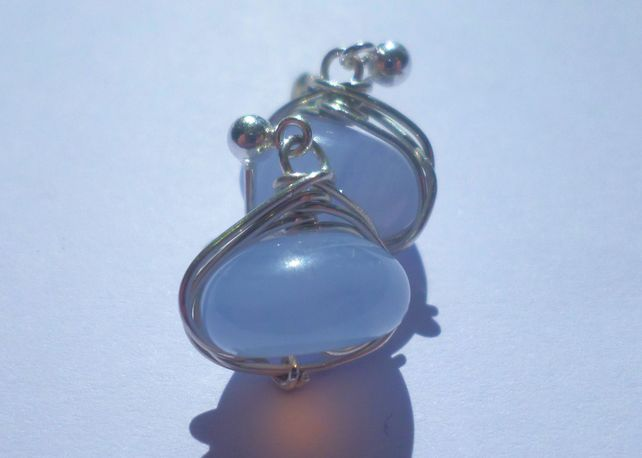 Blue chalcedony and sterling silver dangle earrings £8.00