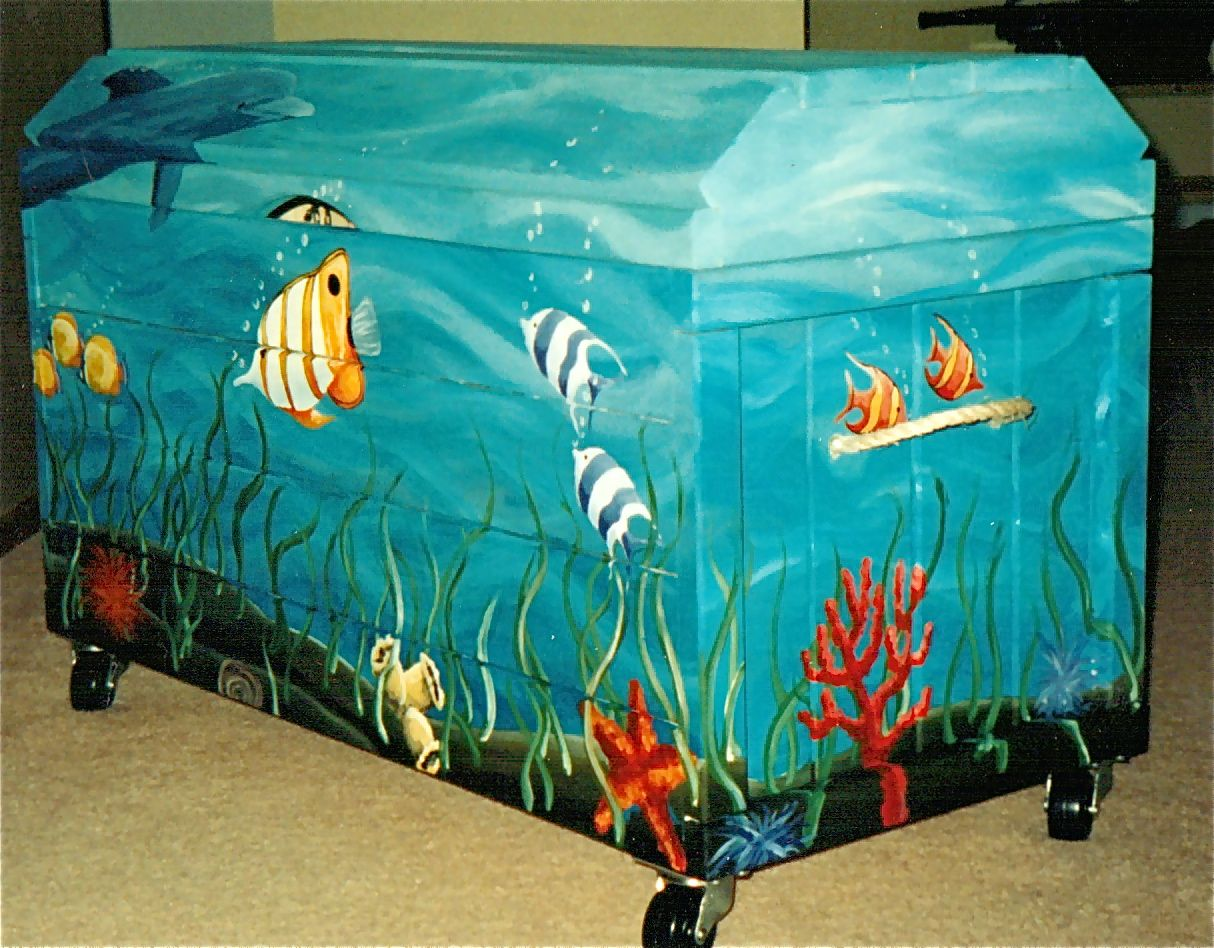 Kids wooden toy chest sunny safari - Best Underwater Murals Paintings The Wooden Toy Box Was Primed And Painted With Acrylic Paint