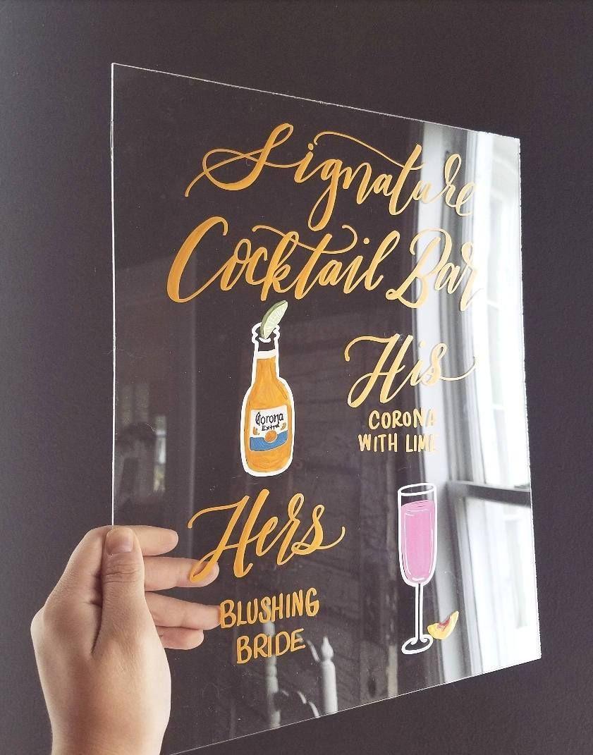 Acrylic signature cocktail wedding sign two custom