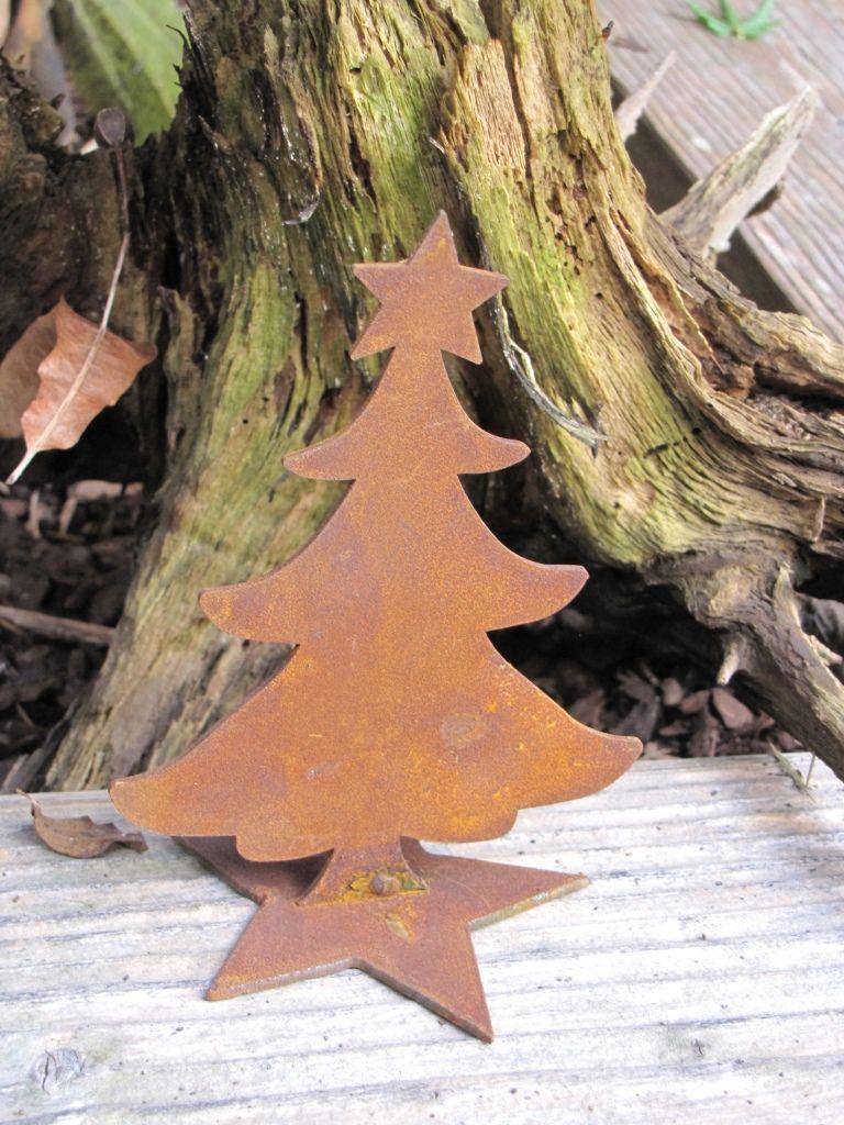 Rostiger Tannenbaum.Edelrost Mini Christbaum Auf Sternplatte Decor Fier Forjat