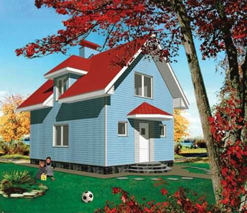 Best Red Roof Blue House Google Search Cute Little Houses 400 x 300