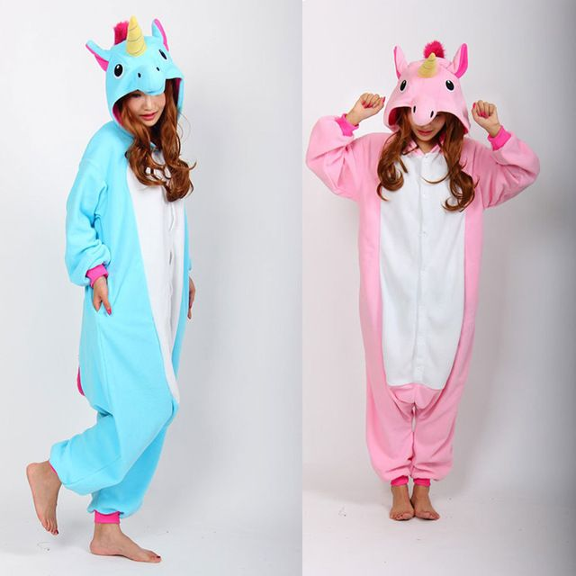 aac7597559e Women's Ladies Men's Adult Unisex Fleece Animal Unicorn Onesies ...