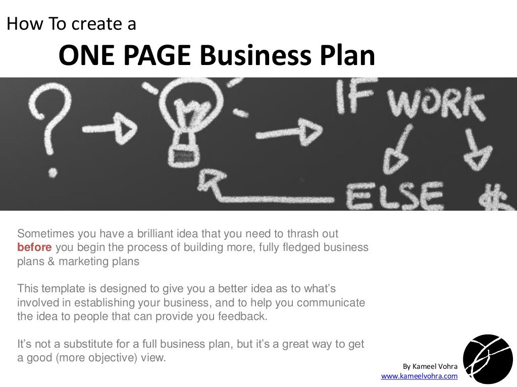 A quick ONE PAGE Business Plan Template by Kameel Vohra via ...