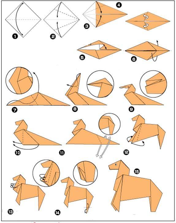Origami Paard Vouwen Paper Papier Origami Origami Kunst En