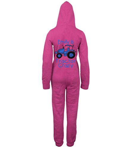 PERSONALISED TRACTOR CRAZY (DESIGN 2)' with NAME Fuchsia Onesie with Black & Royal Blue print.