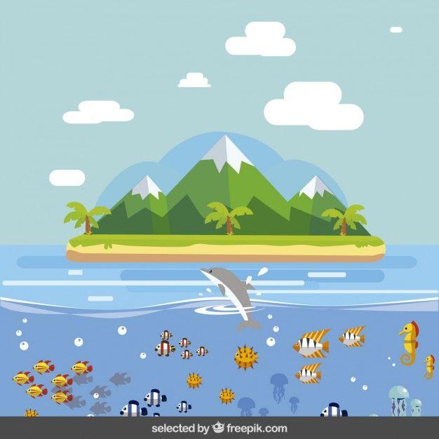 Landscape Illustration Vector Free: Island Landscape In Flat Design Free Vector