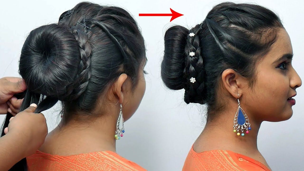 Party Wear Hairstyle For Long Hair Easy Part Hairstyle For Girls Bun Long Hair Styles Easy And Beautiful Hairstyles Bun Hairstyles