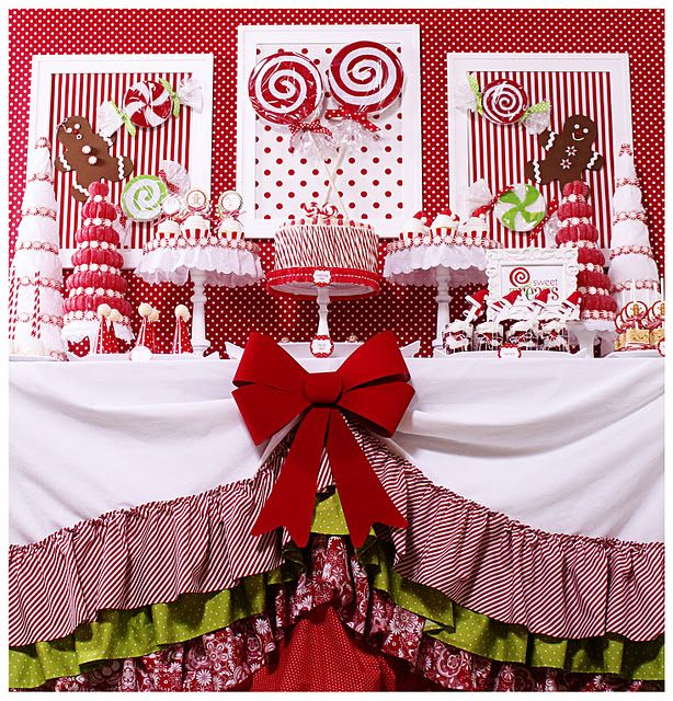 Candy Christmas party tableI would kill for a table set up like