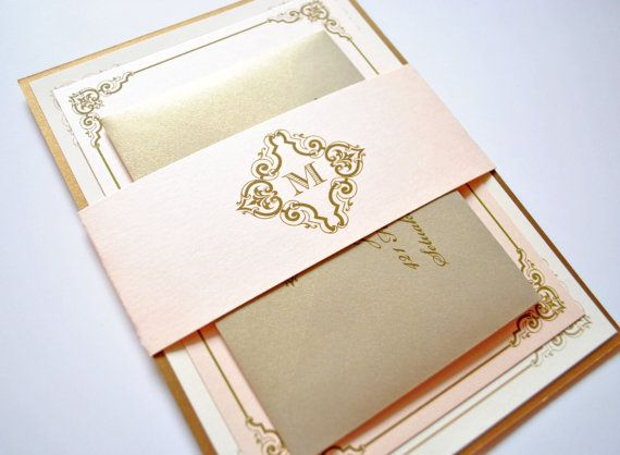 blush and gold wedding invitations, vintage, blush, champagne, Wedding invitations